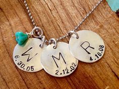 3 date of birth tags with initial