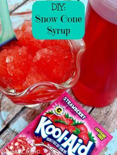 Great idea for a kids' party! - DIY Snow Cone Syrup Recipe using kool-aid. Or maybe get kids to mix up the colors and flavors! #kidsparties #snowcones