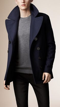 Navy Wool Cashmere Pea Coat - Image 1