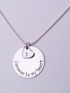 Forever In My Heart Necklace, Memory Necklace, Loss of A Loved One, RIP Necklace, Never Forgotten, Sympathy GIft, Family Member, Friend on Etsy, $28.00