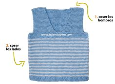 chaleco con cuello en V para niños - knitted vest for kids Baby Knitting, Crochet Baby, Couture, Charity, Baby Boy, Fabric, Baby Knits, Santa Clara, Women