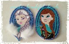 Frozen Elsa and Anna Christmas ornaments by create beautiful beads on facebook!