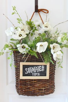Easy summer basket wreath to dress up your front door or summer patio. Summer Diy, Summer Crafts, Diy Wreath, Wreaths, Summer Centerpieces, Lemon Wreath, Faux Flower Arrangements, Different Holidays, Summer Kitchen