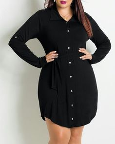 Fashionable Black Shirt Collar Long Sleeve Pleated Plus Size Dress For Women