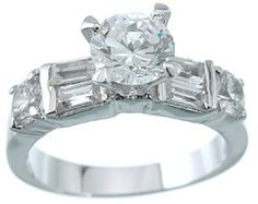 1.5 CT Brillant w/ Side Baguettes Cubic Zirconia Engagement Ring #CyberMondayDeals