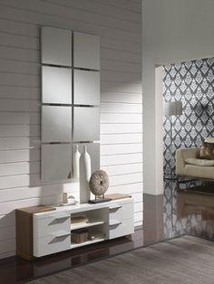 Meuble d'entrée moderne + miroir BASTIAN, coloris blanc et gris cendré