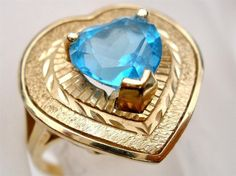 10K Gold Blue Topaz Ring Vintage Large 2.5 Carat Heart Gemstone Signed Size 7 Yellow *Gorgeous 10K yellow gold ring *Large heart shaped 2.5
