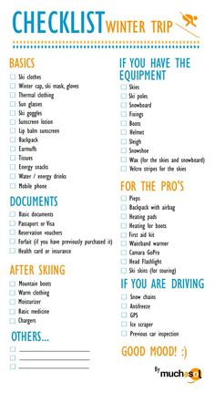 Ski checklist are you ready for the skiing holidays Ski packing list Snow trip checklist Ski Trip Packing List, Travel Checklist, Travel List, Travel Packing, Travel Essentials, Packing Lists, Ski Trips, College Packing, Travel Hacks