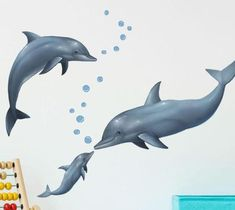 Dolphin Mural to decorate your kids bedroom walls. Easily decorate a dolphin themed children's bedroom with large dolphin wall mural decals. Measures add with other sea animals. Dolphin Bedroom, Ocean Bedroom, Kids Bedroom, Sea Nursery, Bedroom Ideas, Childrens Wall Murals, Kids Room Murals, Childrens Bathroom, Kids Rooms