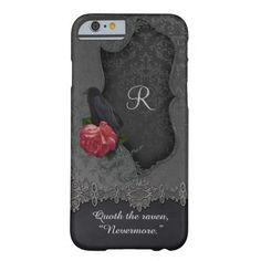 Raven Red Rose Black Damask Monogram iPhone Case