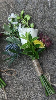 Rustic Blue thistle buttonhole. Please contact the Stockbridge Flower Company, Edinburgh for more details.