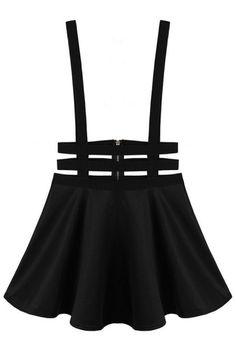 Black Punk A-line Suspender Short Skirt  | OASAP