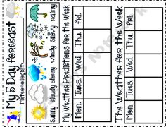 Weather Forecast for Kids Weather forecast and Worksheets