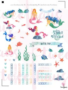 Beautiful PRINTABLE Watercolor Mermaid Stickers for by TweeHaus