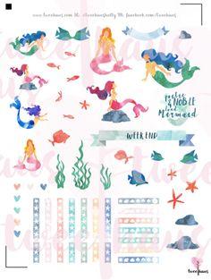 Beautiful PRINTABLE Watercolor Mermaid Stickers for by TweeHaus