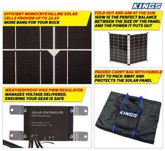 Adventure Kings 160w Solar Panel with PWM Regulator   Monocrystalline Cells