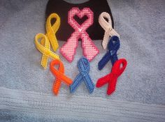 Awareness Ribbons in plastic canvas