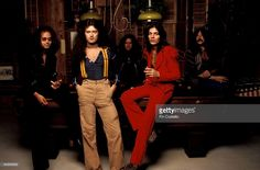 Photo of David COVERDALE and Tommy BOLIN and Jon LORD and Ian PAICE and Glenn HUGHES and DEEP PURPLE; L-R: Ian Paice, Glenn Hughes, David Coverdale, Tommy Bolin, Jon Lord - posed, studio, group shot, standing against pool table