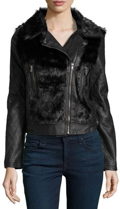 Bagatelle Faux-Leather Quilted Sleeve Jacket, Black on shopstyle.com