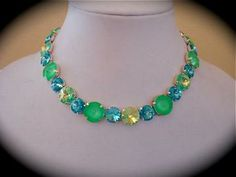 Lime green Tennis  Necklace, Rivoli Necklace, Neon Green Necklace, Aqua necklace, Chunky Necklace, Not Sabika,  lime green necklace by TheCrystalRose for $125.00