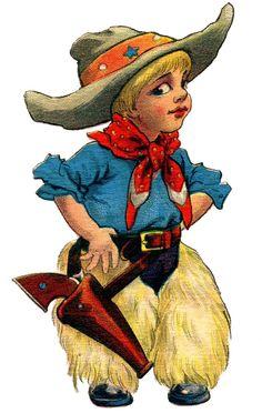 old cowboy pictures | Vintage Clip Art - Cute LIttle Cowboy #2 - The Graphics Fairy