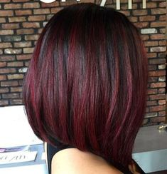 Image result for Medium length hair dark with red highlights