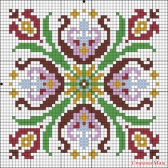 Pretty X-stitch square pattern Biscornu Cross Stitch, Cross Stitch Pillow, Cross Stitch Borders, Cross Stitch Flowers, Cross Stitch Charts, Cross Stitch Designs, Cross Stitching, Cross Stitch Patterns, Diy Embroidery