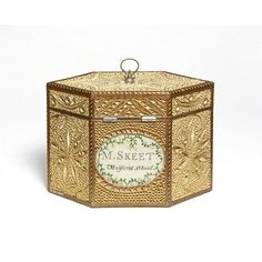 Rolled paperwork, embroidery and wood tea canister by Mary Skeet, United Kingdom, 1815-1820. l Victoria and Albert Museum
