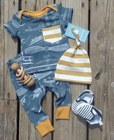 Vintage postal airplanes  Boy coming home outfit  Baby boy