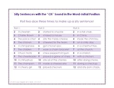 """Ms. Lane's SLP Materials: Articulation: Silly Sentences with the """"Ch"""" Sound"""