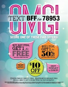 TEXT BFF to 78953 for a @Charlotte Russe FAB Offer at The Outlet Shops of Grand River! Offer from 6/12-6/15!