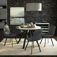 The modern Tyler circular dining table has a wooden top that has been given a granite effect top for a real industrial look. The dining chair has a one piece seat and back rest and has been upholstered in a coordinating grey faux leather White Dining Set, Circular Dining Table, Wooden Tops, Granite, Dining Chairs, New Homes, Living Room, Modern, Furniture