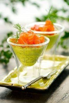 Avocado cream and salmon in glasses  #shopfesta #fingerfood
