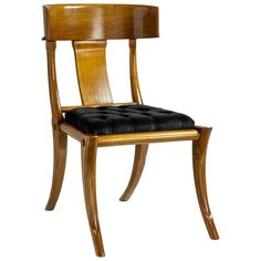 For Sale on - Klismos walnut wood customizable dining chairs Italian production, black velvet upholstery. Other colors and upholstery are available. Klismos Dining Chair, Leather Dining Room Chairs, Modern Dining Chairs, Wood Chairs, Walnut Wood Color, Antique Chairs, Living Room Colors, Living Rooms, A Table