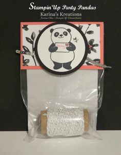 A Sneak Peak team door prize using the new Sale-a-bration stamp Party Pandas. http://www.karinaskreations.com