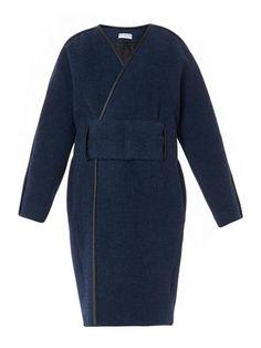 Leather-trimmed alpaca-blend coat   Balenciaga   MATCHESFASHIO...