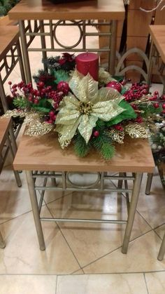 Good idea to put on porch chairs. Maybe add some twinkling lights. Good idea to put on porch chairs. Maybe add some twinkling lights. Christmas Flower Arrangements, Christmas Table Centerpieces, Christmas Tablescapes, Xmas Decorations, Christmas Swags, Christmas Fireplace, Christmas Candles, Christmas Holidays, Porch Chairs