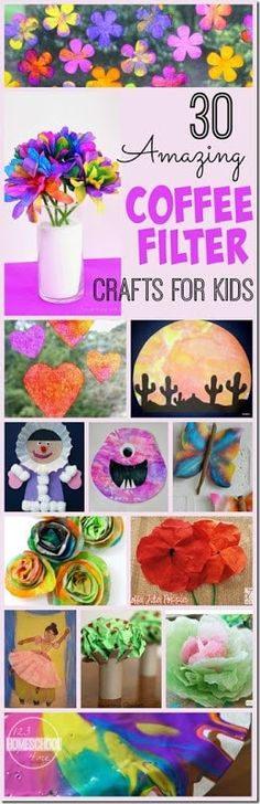 30 Amazing Coffee Filter Crafts for Kids - lots of really fun and creative kids activities for toddler, preschool, kindergarten, and elementary age kids! Should you appreciate arts and crafts an individual will love our info! Kids Crafts, Daycare Crafts, Summer Crafts, Toddler Crafts, Projects For Kids, Art Projects, Arts And Crafts, Toddler Preschool, Summer Art