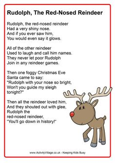 Everyone loves Rudolph the Red Nosed Reindeer, and this cute printable version is a lovely way to share it during the holiday season. A fun poster for the classroom, perhaps? Christmas Songs For Toddlers, Christmas Carols Songs, Christmas Songs Lyrics, Christmas Poems, Christmas Program, Christmas Concert, Preschool Christmas, A Christmas Story, Christmas Activities