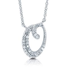 """BERRICLE Sterling Silver CZ Personalized Initial Letter """"""""O"""""""" Pendant... ($49) ❤ liked on Polyvore"""