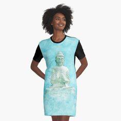 -  Graphic T-shirt Dress.   -  Sublimation printed 96% polyester, 4% elastane front panel.   -  Solid color 100% cotton back/sleeves/rib.   -  Loose casual fit. . . . #dress  #loosefitdress  #tshirtdress  #bitsofeverywhere  #buddahdress #buddah  #namastedress #namaste