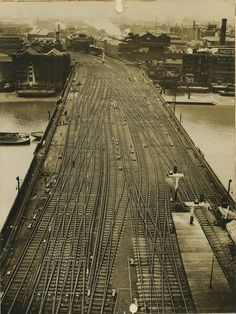Cannon Street railway bridge, seen from Cannon Street station signal box, about 1923. Railway lines crossing the River Thames at the entrance to the station. National Railway Museum