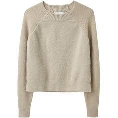 3.1 Phillip Lim Raglan Pullover. (10.080 UYU) ❤ liked on Polyvore featuring tops, sweaters, shirts, jumpers, women, crewneck sweater, crew shirt, cropped sweater, brown sweater and long sweater