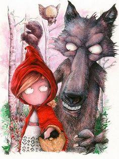 Little Red Riding Hood - Le petit Chaperon Rouge Chez Laurette, Little Red Hood, Hansel Y Gretel, Charles Perrault, Red Ridding Hood, Tumblr Art, Big Bad Wolf, Cute Monsters, Jolie Photo