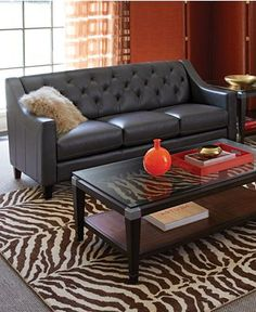 Claudia II Leather Sofa Living Room Furniture Collection - Furniture - Macy's