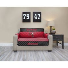 NFL Licensed TPU Lamination Waterproof Furniture Protector, Love Seat, Tampa Bay Buccaneers, Multicolor
