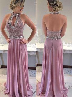 A-line Beaded Bodice Halter Long Chiffon Prom Dresses APD2810 - SheerGirl