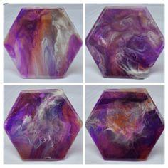 Purple, White & Gray - Resin Art Coasters Resin Art, Coasters, Art Pieces, Shapes, Gray, Purple, Modern, Handmade, Trendy Tree