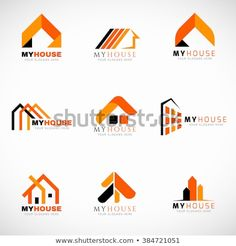 Illustration about Orange and Black House logo set vector design. Illustration of black, modern, corporate - 67589390 Building Logo, House Building, Bauunternehmen Logo, Arquitectura Logo, Logo Process, Real Estate Logo Design, Interior Logo, Orange Logo, Professional Logo Design