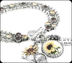 Silver Sunflower Jewelry  Sunflower Bracelet  by BlackberryDesigns